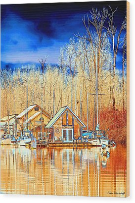 Life On The River Wood Print