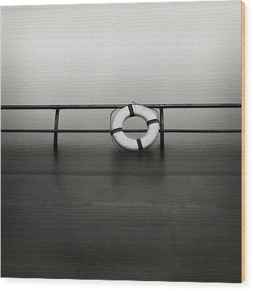Life Ring On Boat In Yokohama Port Wood Print by Spitz_uta97