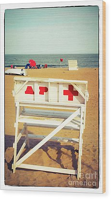 Wood Print featuring the photograph Lifeguard Chair - Asbury Park by Colleen Kammerer