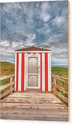 Lifeguard Hut Wood Print by Elisabeth Van Eyken