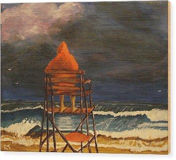 Lifeguard On Duty Wood Print by Rita Tortorelli