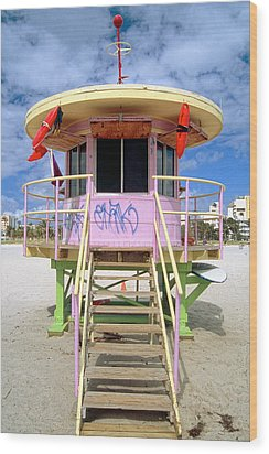 Lifeguard Station South Beach Miami  Florida Wood Print by George Oze
