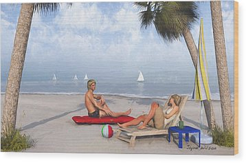 Wood Print featuring the digital art Life's A Beach by Jayne Wilson