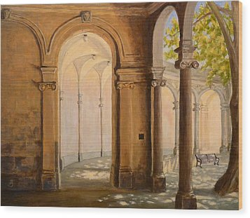 Wood Print featuring the painting Light At The End Of The Tunnel Monmouth University by Joe Bergholm
