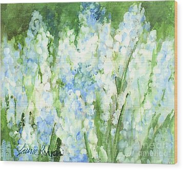 Wood Print featuring the painting Light Blue Grape Hyacinth. by Laurie Rohner