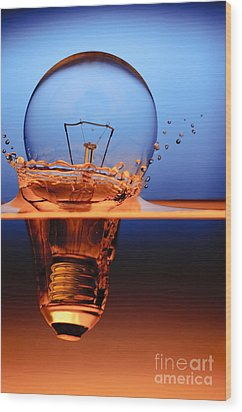Wood Print featuring the photograph Light Bulb And Splash Water by Setsiri Silapasuwanchai