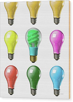 Light Bulbs Of A Different Color Wood Print by Bob Orsillo
