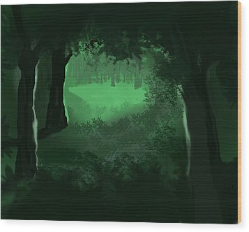 Wood Print featuring the digital art Light In The Forest by Walter Chamberlain