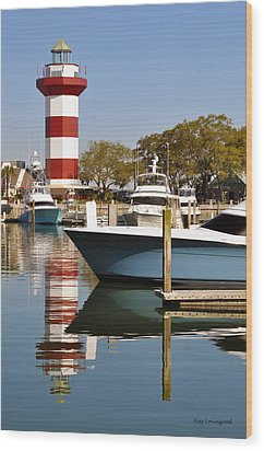 Light In The Harbor Wood Print by Kay Lovingood