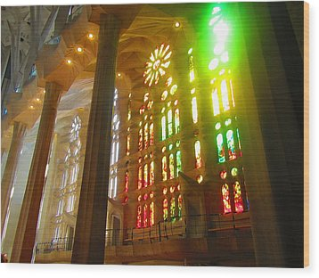 Light Of Gaudi Wood Print by Christin Brodie