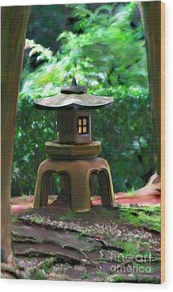 Light-on Pagoda Wood Print