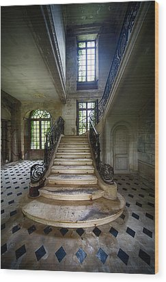 Wood Print featuring the photograph Light On The Stairs - Abandoned Castle by Dirk Ercken