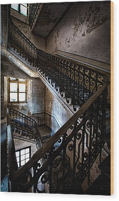 Light On The Stairs - Urban Exploration Wood Print