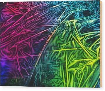 Light Painting Colors Abstract Experimental Chemiluminescent Photography Wood Print by David Mckinney