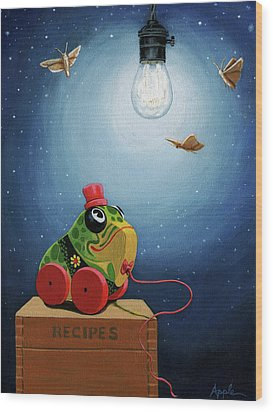 Wood Print featuring the painting Light Snacks Original Whimsical Still Life by Linda Apple