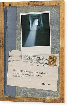 Light Through Window And Scripture Wood Print by Jill Battaglia
