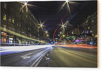 Wood Print featuring the photograph Light Trails 2 by Nicklas Gustafsson
