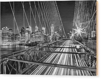 Light Trails Of Manhattan Wood Print by Az Jackson
