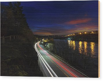 Light Trails On Highway 99 Wood Print by David Gn