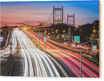 Light Trails On I-278 Near Triboro Bridge Wood Print