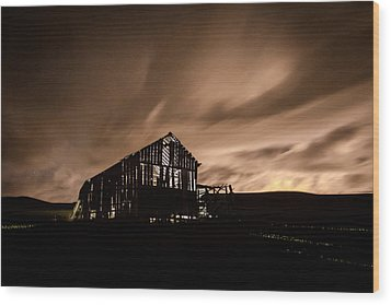 Lighted Barn Wood Print