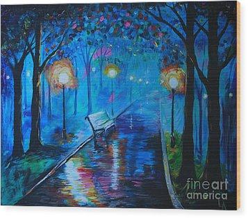Lighted Parkway Wood Print by Leslie Allen