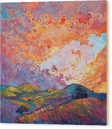 Lighted Sky Wood Print by Erin Hanson