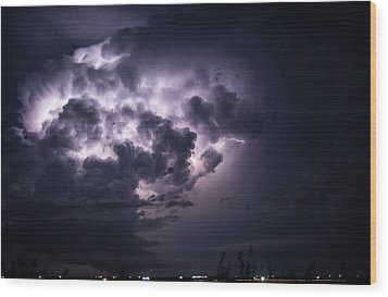 Lightening At Night Wood Print