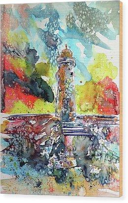 Lighthouse After Storm Wood Print by Kovacs Anna Brigitta