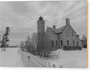 Wood Print featuring the photograph Lighthouse And Mackinac Bridge Winter Black And White  by John McGraw