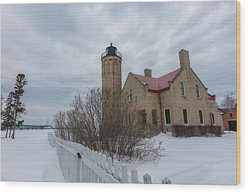 Wood Print featuring the photograph Lighthouse And Mackinac Bridge Winter by John McGraw