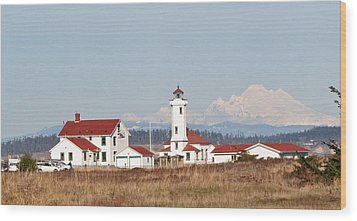 Wood Print featuring the photograph Lighthouse And Mountain by Lynn Bawden