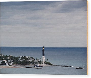 Lighthouse And Rain Clouds Wood Print
