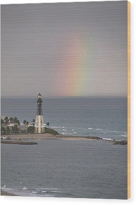 Lighthouse And Rainbow Wood Print