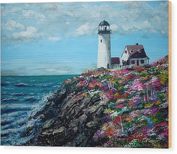 Lighthouse At Flower Point Wood Print by Jack Skinner