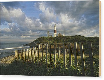Lighthouse At Montauk With Dramatic Sky Wood Print by Skip Brown