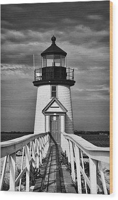 Lighthouse At Nantucket Island II - Black And White Wood Print by Hideaki Sakurai