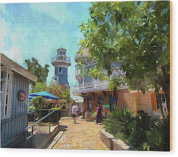 Lighthouse At Seaport Village Wood Print