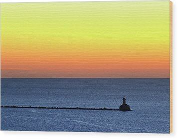 Wood Print featuring the photograph Lighthouse At Sunrise On Lake Michigan by Zawhaus Photography