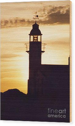 Lighthouse At Sunset Wood Print by Mary Mikawoz