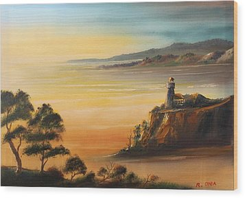 Lighthouse At Sunset Wood Print by Remegio Onia