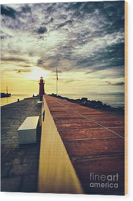 Wood Print featuring the photograph Lighthouse At Sunset by Silvia Ganora