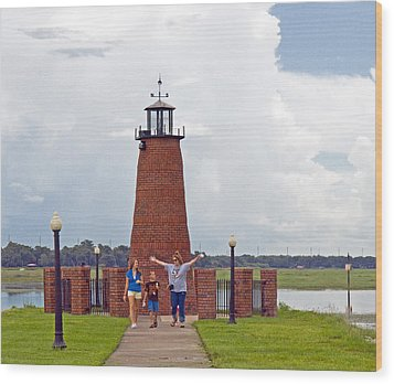 Lighthouse At The Port Of Kissimmee On Lake Tohopekaliga In Central Florida Wood Print by Allan  Hughes