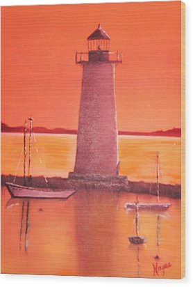 Wood Print featuring the painting Lighthouse by Barbara Hayes