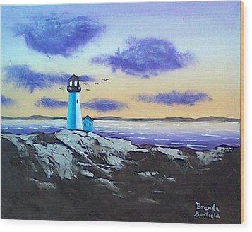 Lighthouse Wood Print by Brenda Bonfield