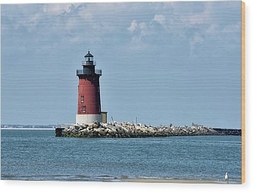 Wood Print featuring the photograph Delaware Breakwater East End Lighthouse - Lewes Delaware by Brendan Reals