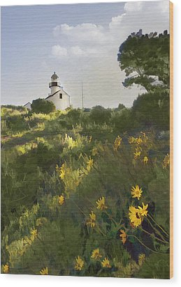 Lighthouse Daisies Wood Print by Sharon Foster