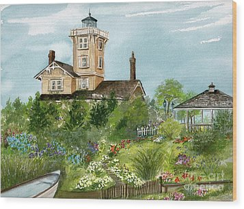 Wood Print featuring the painting Lighthouse Gardens  by Nancy Patterson
