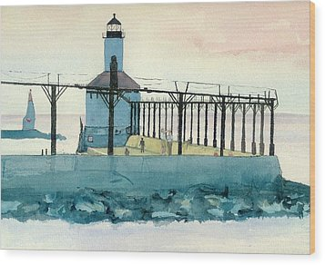 Wood Print featuring the painting Lighthouse In Michigan City by Lynn Babineau