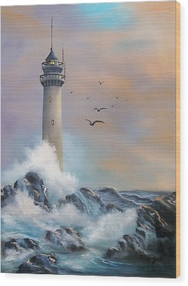 Lighthouse Wood Print by Joni McPherson